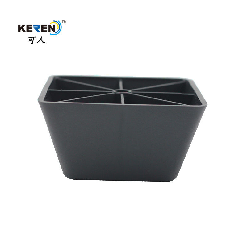 KR-P0144 Black Square Furniture feet , Plastic adjustable sofa legs PP Material supplier